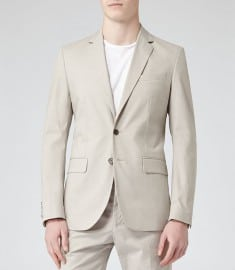 Reiss Miami B Patterned Two Button Blazer Stone