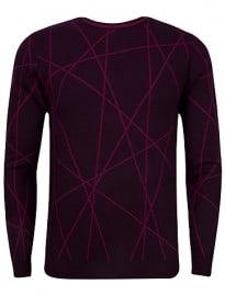 Ted Baker Carguy Zigzag Pattern Wool Jumper Dark Purple