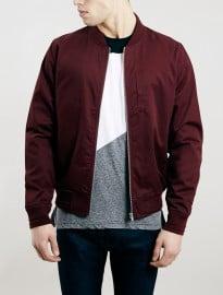 Topman Burgundy Cotton Bomber Jacket