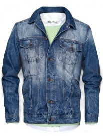 He By Mango Washed Denim Jacket
