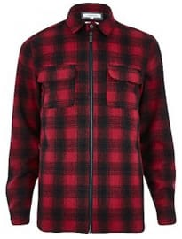 River Island Red Check Zip Through Shirt Jacket