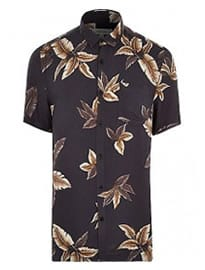 River Island Grey Leaf Print Short Sleeve Shirt