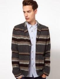 Asos Slim Fit Stripe Blazer In Italian Fabric