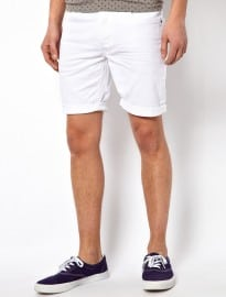 Solid Denim Shorts