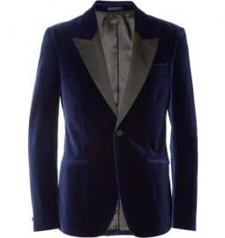 Alexander Mcqueen Navy Velvet Slim-fit Tuxedo Jacket