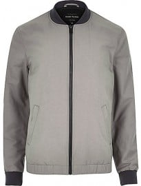 River Island Ecru Casual Contrast Neck Bomber Jacket