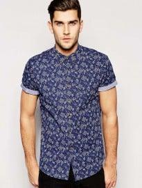 Asos Shirt In Short Sleeve With Indigo Ditsy Floral Print