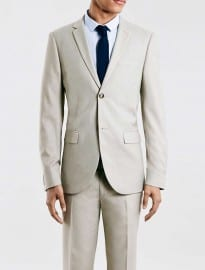 Topman Stone Skinny Fit Suit