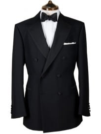 Black Wool Double Breasted Dinner Jacket