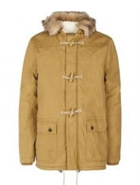 Faux Fur Hooded Duffle Coat