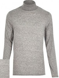 River Island - Pull col roulé en jersey gris