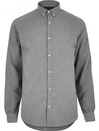 Chemise à manches longues en flanelle grise River Island