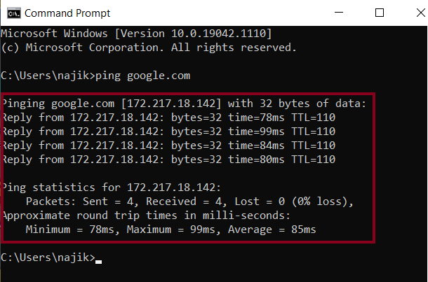 Ping command to check your internet connection