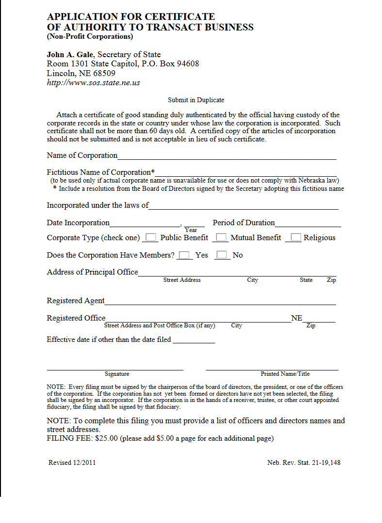 Free Nebraska Application For Certificate Of Authority To Transact Business For A Nonprofit
