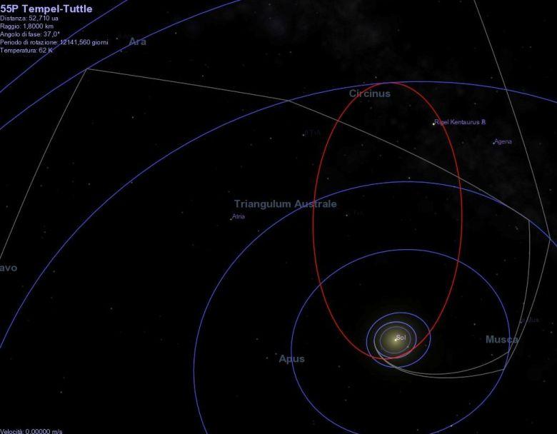 Orbita della cometa Tempel-Tuttle realizzata con Celestia. In grigio le orbite delle sonde Voyager