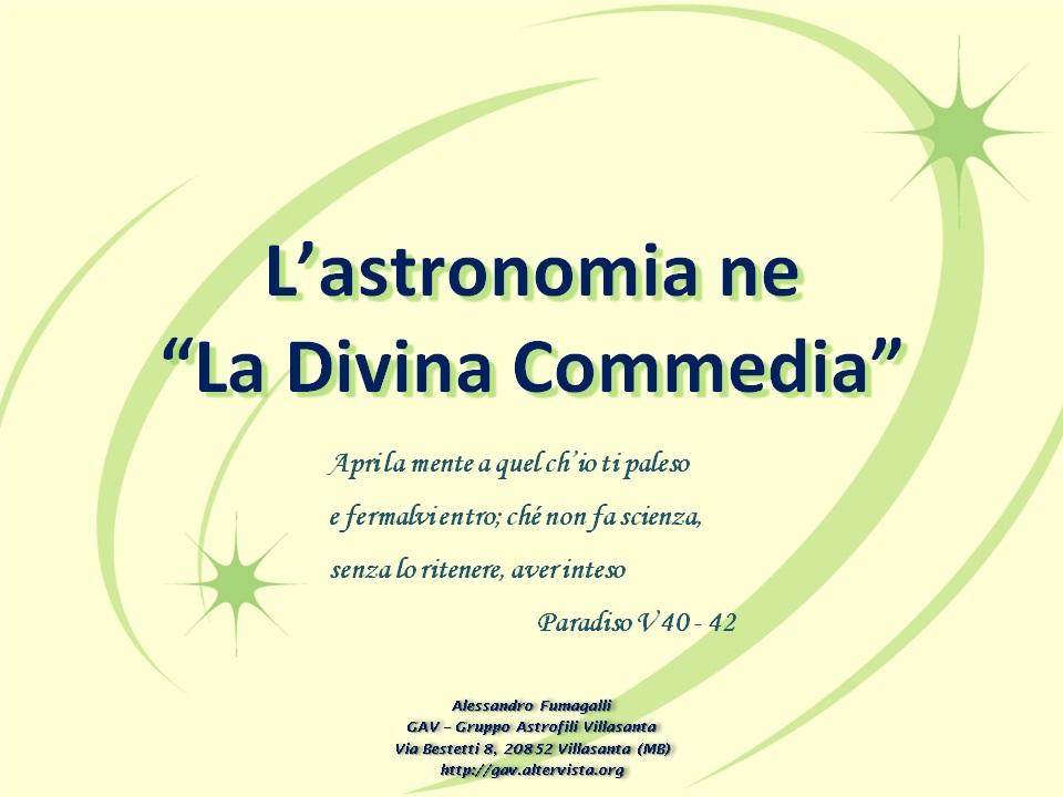 """astronomia ne """"La Divina Commedia"""""""