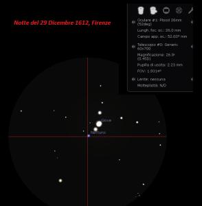 Ricostruzione dell'osservazione di Giove in data 29 dicembre 1612, come l'ha vista Galileo