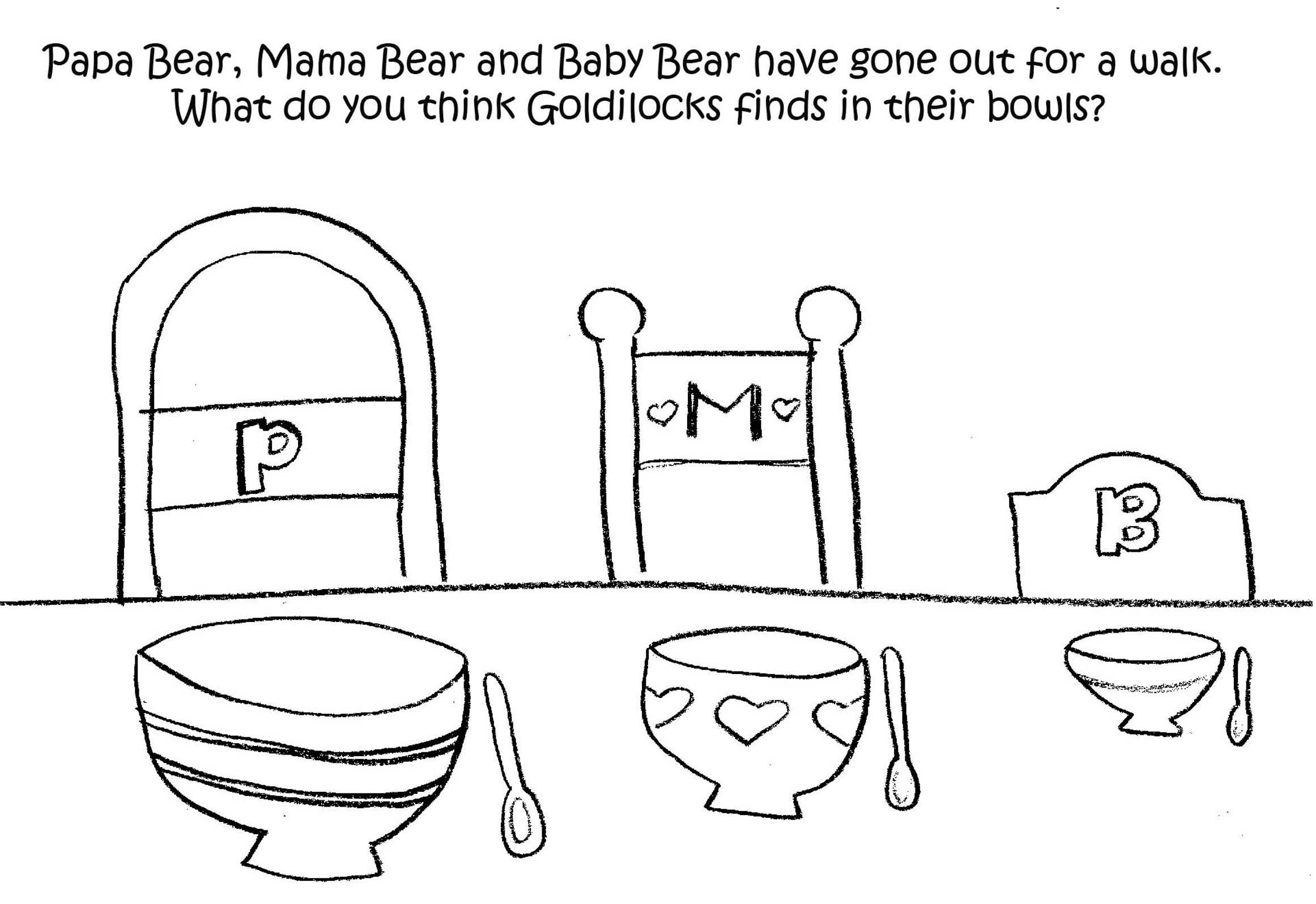 Goldilocks And The Three Bears Story Printable