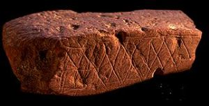 ~70,000 year old art from Blombos Cave