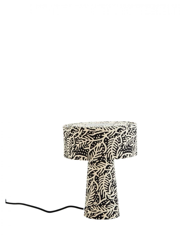 Lampe de Table en Coton Imprimé Noir et Blanc Cassé
