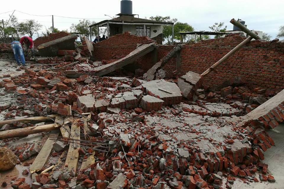 La tormenta tiró abajo la obra de la Capilla Nuestra Señora de la Estiva