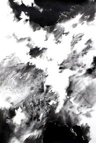Rayon-bleu-U-Fusain-et-encre-sur-papier-Charocal-and-ink-on-paper-150x90cm-2013
