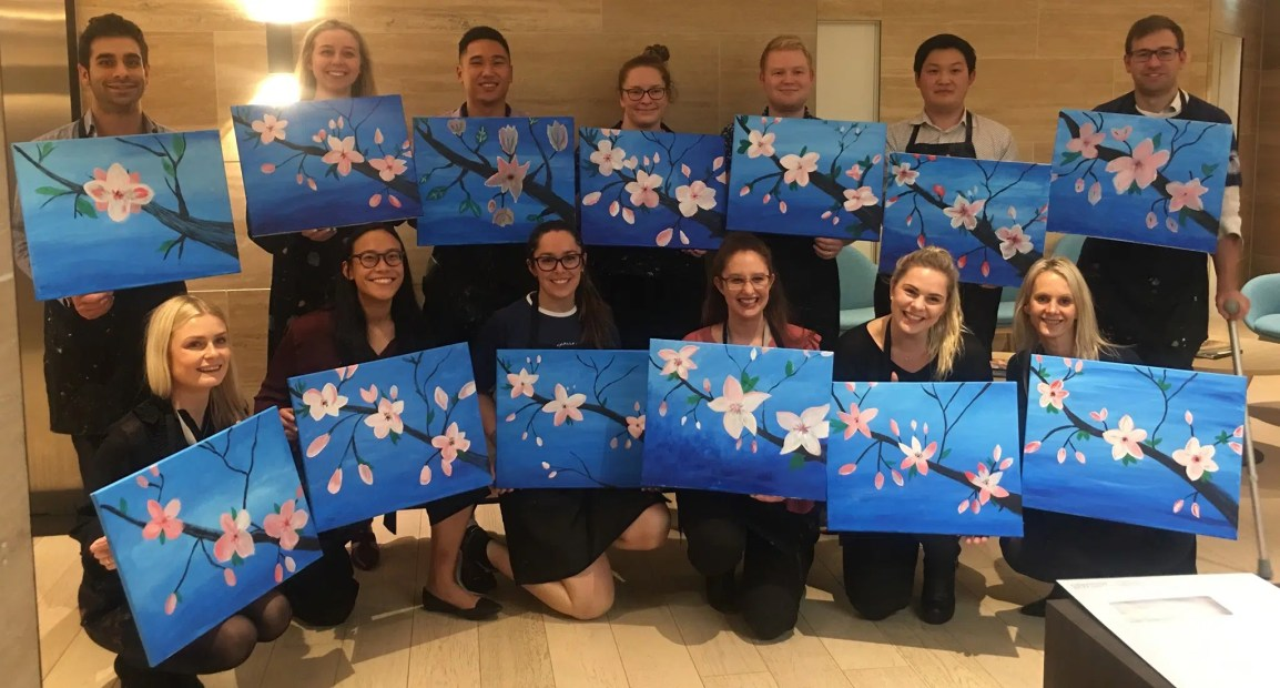 team building activity Auckland wine and paint