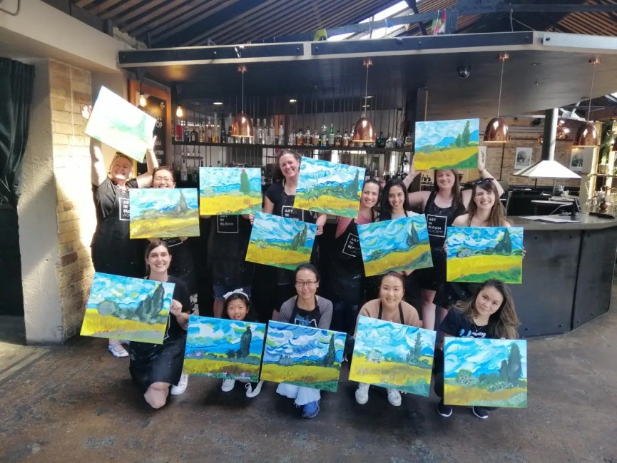 team building wine and paint event