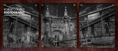 Cincinnati Roebling Bridge Abstracted - industrial fine art photography
