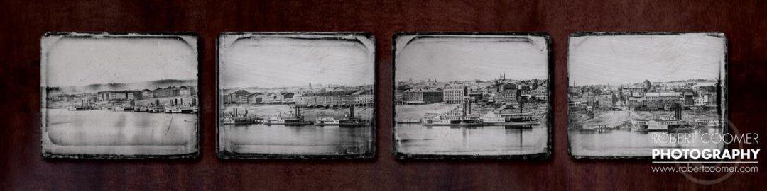 1848 Cincinnati Landing Art Photo on Distressed Steel