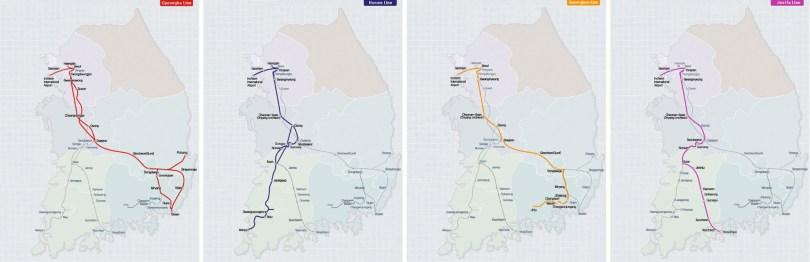 Screenshots of the Gyeongbu, Honam, Gyeongjon and Jeolla lines from the official Korail Website.