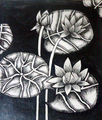 Nirmal Thakur Lotus-2 Mix Media on Canvas 9x7 Inches 3.5K