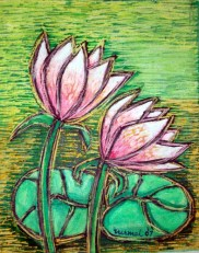 Nirmal Thakur pair of lotus.(mix media)16 x 12.5 inches. Rs. 4k year 2007