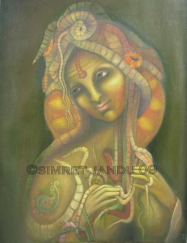 Simret Jandu Kundalini Oil on Canvas 36 x 48 Inches Oil on Canvas