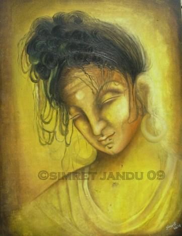 Simret Jandu Siddhartha and the Buddha in making Oil on Canvas