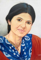 Manju Bhudhwar My Sister Oil on Canvas 24x18 Inches NFS