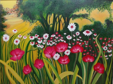 Shalini Goyal Garden 2 Oil on Canvas 40x50 Inch Rs 39999