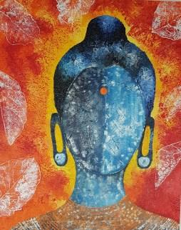 Tulika Kukreti Buddha Oil on Canvas 30 x 24 Inches