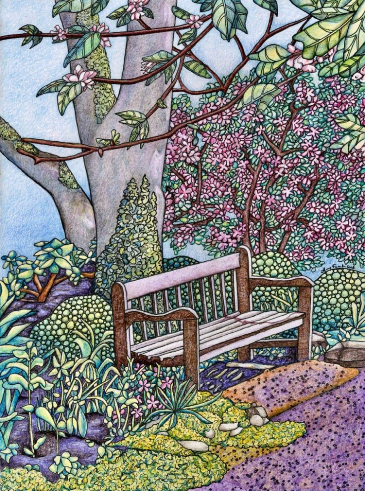 Painting of a park bench by Amy Frank