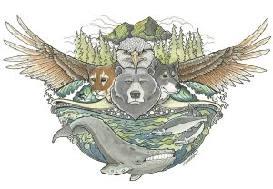 Drawing of West Coast Wildlife by artist Claire Watson