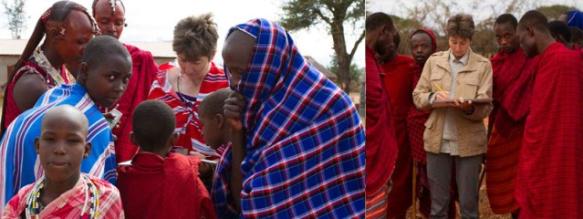 Alison Nicholls sketching among the Maasai in Tanzania © African People & Wildlife Fund / Deirdre Leowinata