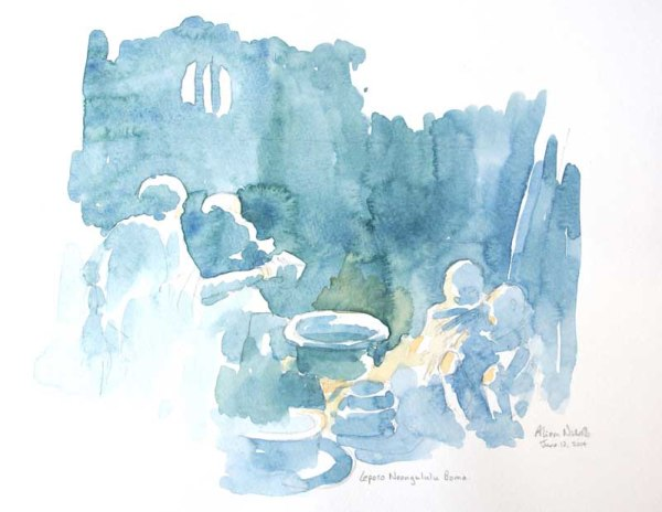 "Tea by the Fire Field Sketch 11x14"" © Alison Nicholls 2014"