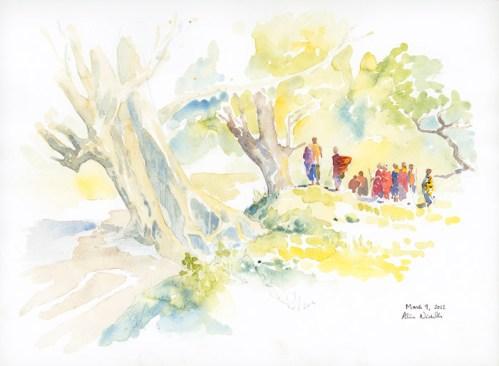 Maasai at Stream Field Sketch © Alison Nicholls 2012