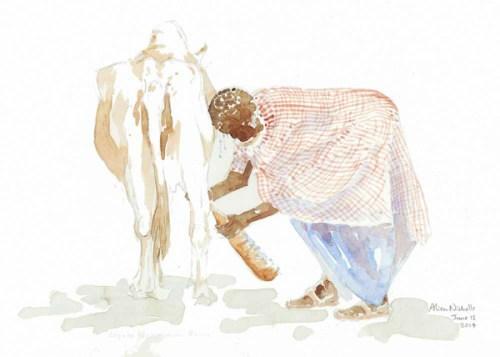 Milking Time Field Sketch by Alison Nicholls