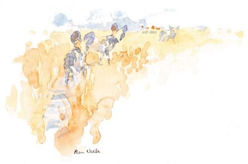Wild Dog Hunt Field Sketch © Alison Nicholls 2012