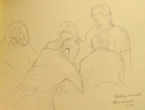 Teamwork. Sketch by Alison Nicholls