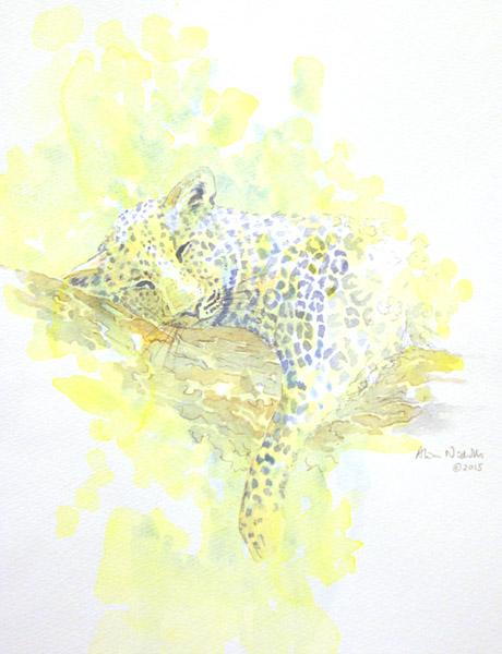 Leopard watercolor by Alison Nicholls