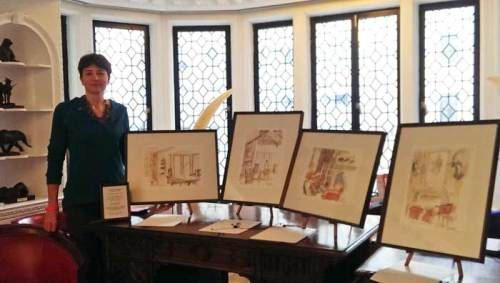 Alison Nicholls' sketches on display at The Explorers Club.