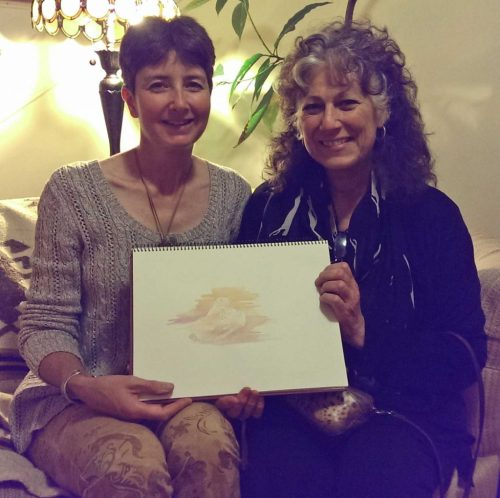Artist Alison Nicholls with Laurie Marker of the Cheetah Conservation Fund