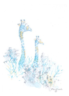 2 giraffes, painted in blue, look out over the bush, by Alison Nicholls